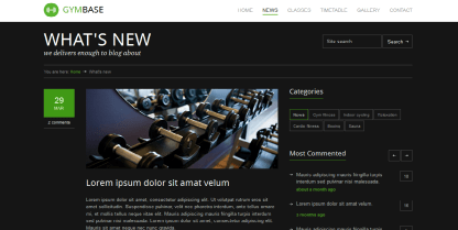 GymBase- News page with right sidebar showing category tags
