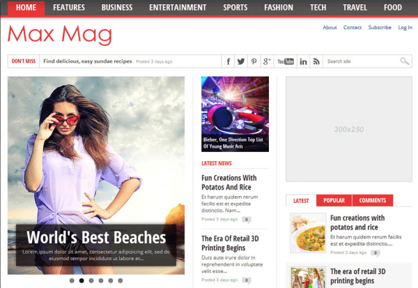 Max Mag- Responsive Wordpress Magazine Theme