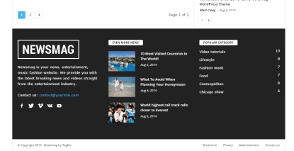 News Mag- Footer with 3 widget areas