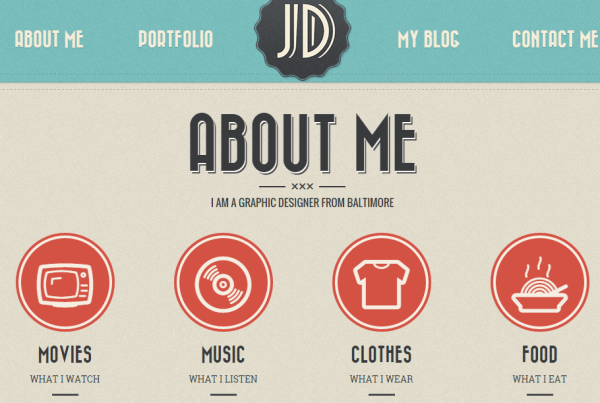 About Me page of Retro Portfolio theme