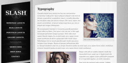 slash-Typography with the wrapped images as well as left sidebar.