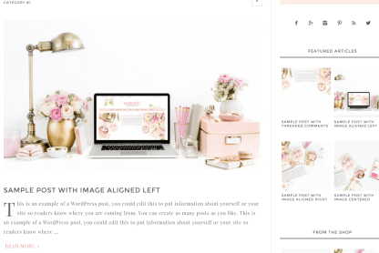 Blog page of Darling Theme