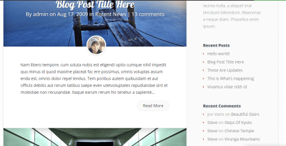 Blog page of Explorable theme