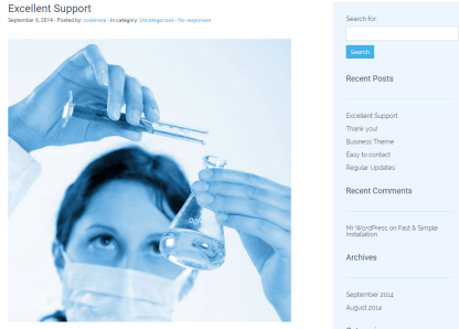Blog page of Medica Pro theme