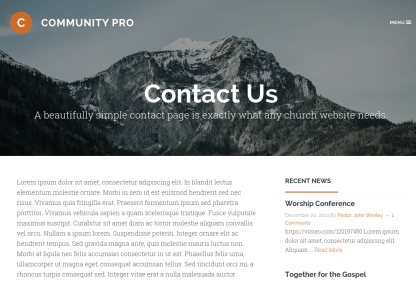 Community Pro Contact Page