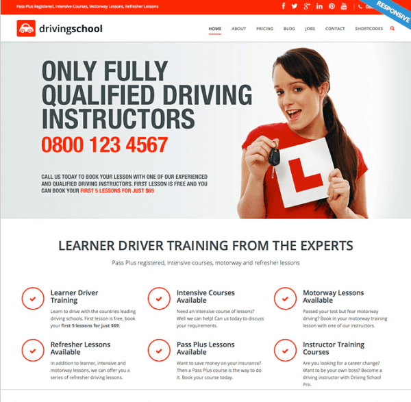 Driving School Gallery- A Responsive WP theme for driving schools