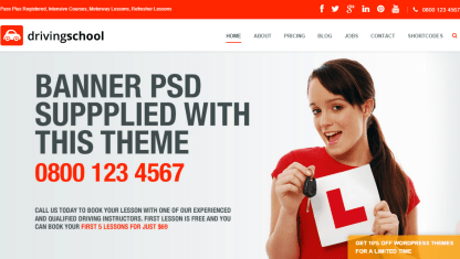 Driving School Pro- Front page with slider