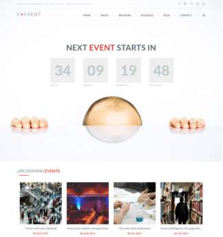 E-event is a fresh and modern premium WordPress Theme for your events website.