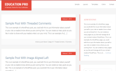 Education Pro theme's page layout