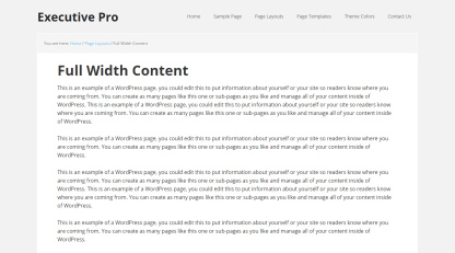 Executive- Fullwidth page layout of this theme