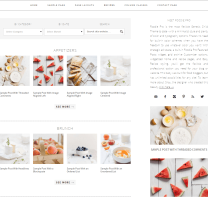 Foodie Pro- Widgetized recepi page of this theme