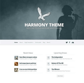 Harmony WordPress Theme is specially designed for a specific kind of customers bands and musicians
