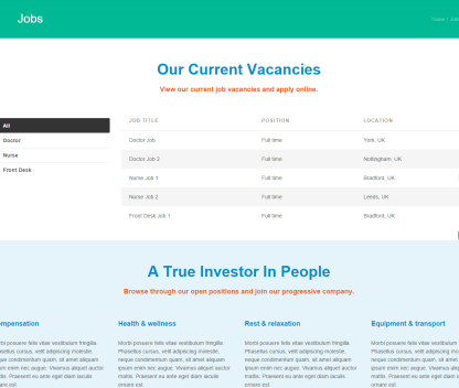 Healthcare Pro- Jobs page template