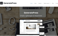 Homepage of GeneratePress theme