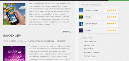 InReview theme displaying software products