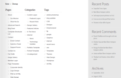 Instyle- With this theme a sitemap layout is supported