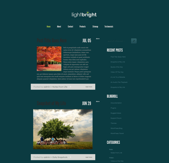 LightBright WordPress theme is a blog theme built with Tumblr stylish layout