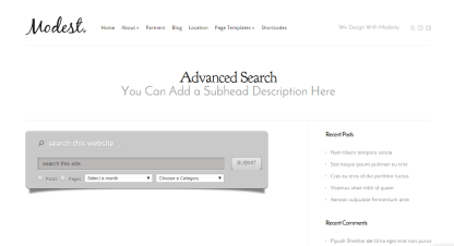 Modest- Provides advanced search shortcode
