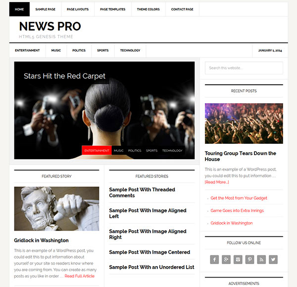 News Pro- A Magazine and News Styled WordPress Theme
