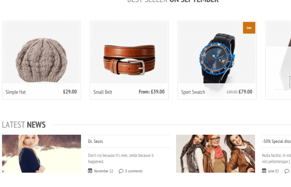 Panthea- Feature products & latest news on front page
