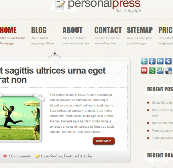 PersonalPress- A traditional Blogging WordPress theme