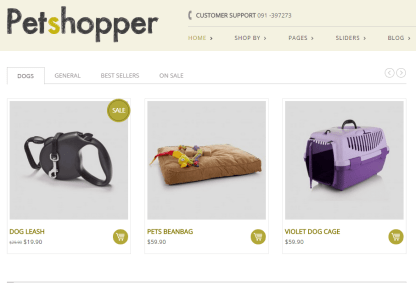 Petshopper- One of the home page layout with slider