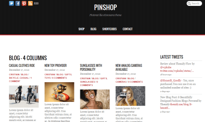 Pinshop- Blog page with 4 columns and right sidebar