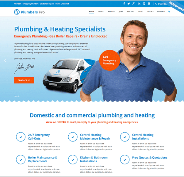 Plumber Pro- A responsive WordPress Theme For Plumbing & Heating Companies