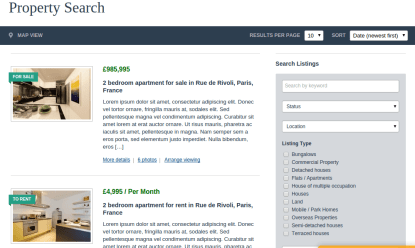Search property page of Real estate pro