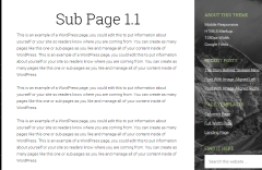Sixteen Nine Pro theme showing subpage