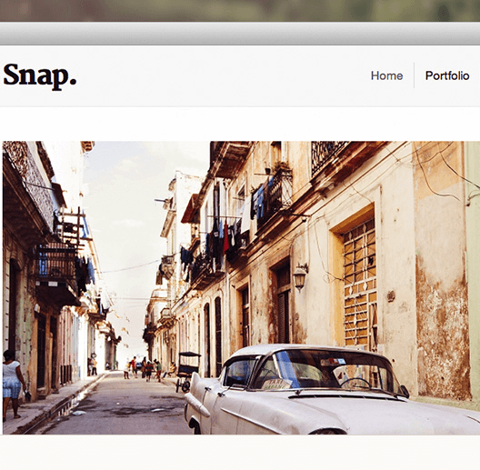 Snap – Portfolio theme perfect for showcasing your portrait images and galleries.