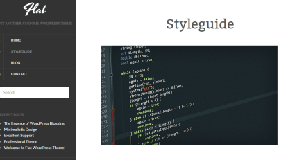 Styleguide shown by Flat theme