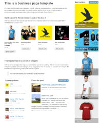 Swift- Front page showing shop page built with woocommerce page template and other widgets added on page