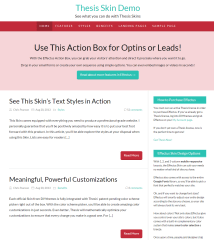 Thesis- Front page built with Effectus skin of this theme. Provides an action box on top