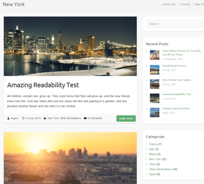 Travelify theme's NewYork page showing different posts