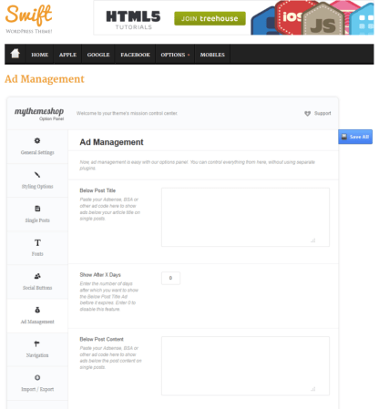Ad Management Page of swift