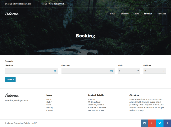 Adomus Booking Page
