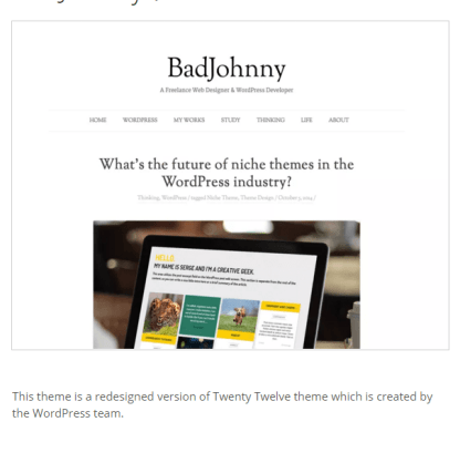 BadJohnny- A WordPress theme for blogging