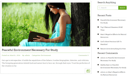 Blog layout with right sidebar of StartPoint theme