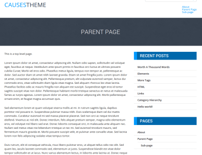 Causes Parent Page