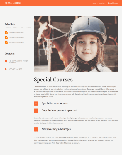 Courses Page of Happy Rider
