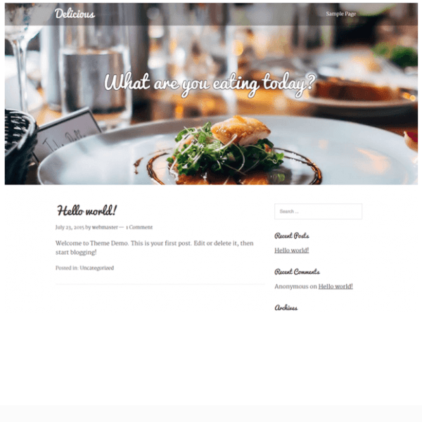 Delicious- A restaurant based WordPress theme