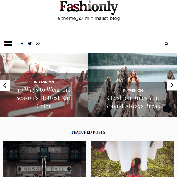 Fashionly – Fashion Blog WordPress Theme