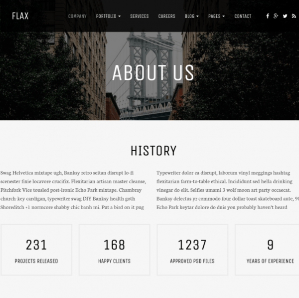 Flax-WordPress-theme-About