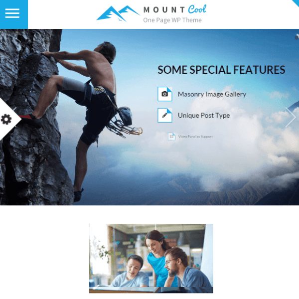MountCool- A one page WordPress theme