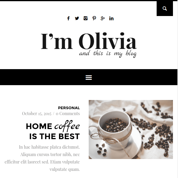 Olivia – Clean & Responsive WordPress Blog Theme