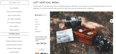 Photography- Vertical left menu with content