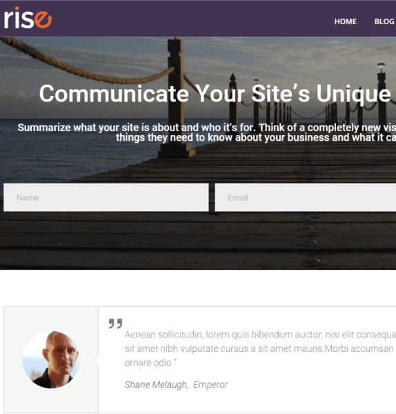 Rise- A responsive Blogging WP theme
