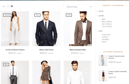 Shop page of Capel theme