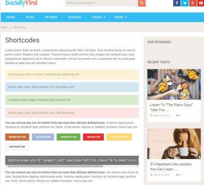 Shortcode page of SociallyViral